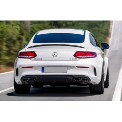 Mercedes Benz C205 AMG C63 Style Black Rear Diffuser with Tailpipes